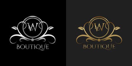 Luxury Logo Letter W Template Vector Circle for Restaurant, Royalty, Boutique, Cafe, Hotel, Heraldic, Jewelry, Fashion