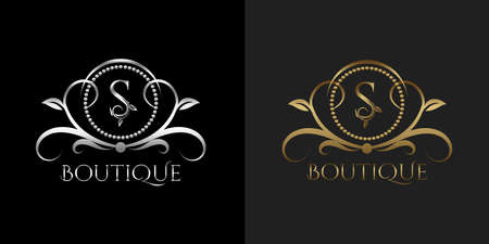 Luxury Logo Letter S Template Vector Circle for Restaurant, Royalty, Boutique, Cafe, Hotel, Heraldic, Jewelry, Fashion