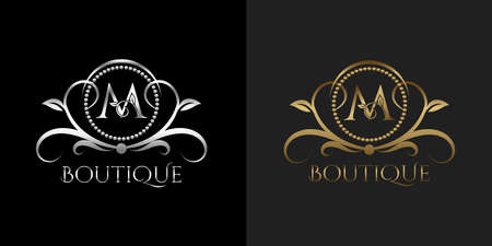 Luxury Logo Letter M Template Vector Circle for Restaurant, Royalty, Boutique, Cafe, Hotel, Heraldic, Jewelry, Fashion