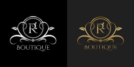Luxury Logo Letter R Template Vector Circle for Restaurant, Royalty, Boutique, Cafe, Hotel, Heraldic, Jewelry, Fashion