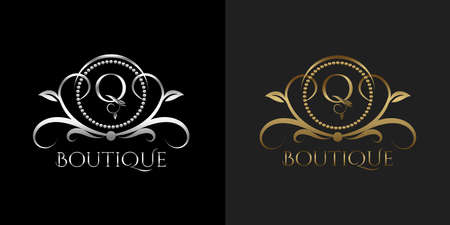 Luxury Logo Letter Q Template Vector Circle for Restaurant, Royalty, Boutique, Cafe, Hotel, Heraldic, Jewelry, Fashion