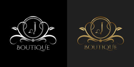 Luxury Logo Letter J Template Vector Circle for Restaurant, Royalty, Boutique, Cafe, Hotel, Heraldic, Jewelry, Fashion Vettoriali