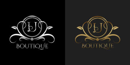 Luxury Logo Letter U Template Vector Circle for Restaurant, Royalty, Boutique, Cafe, Hotel, Heraldic, Jewelry, Fashion Vettoriali