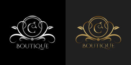 Luxury Logo Letter C Template Vector Circle for Restaurant, Royalty, Boutique, Cafe, Hotel, Heraldic, Jewelry, Fashion