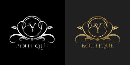 Luxury Logo Letter Y Template Vector Circle for Restaurant, Royalty, Boutique, Cafe, Hotel, Heraldic, Jewelry, Fashion