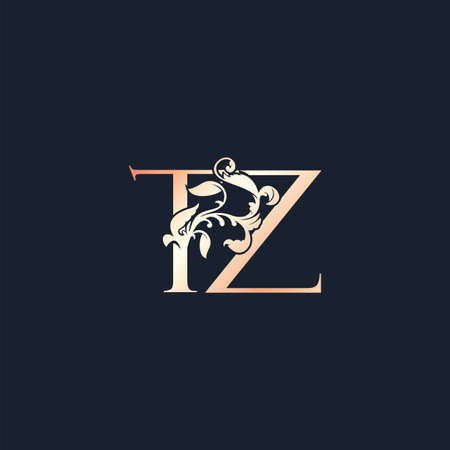 Initial Letter T and Z, TZ, Rose Gold Color Luxury Style Vector Design Template. Vektoros illusztráció