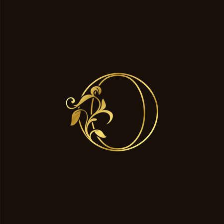 O Letter Golden Outline Initial Nature Tropical Leaf Icon, vector design concept monogram vintage luxury.