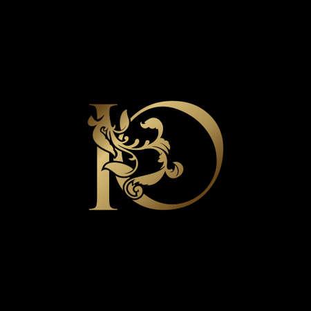 Elegance Luxury deco letter I and O, IO golden logo vector design, alphabet font initial in art decoration.