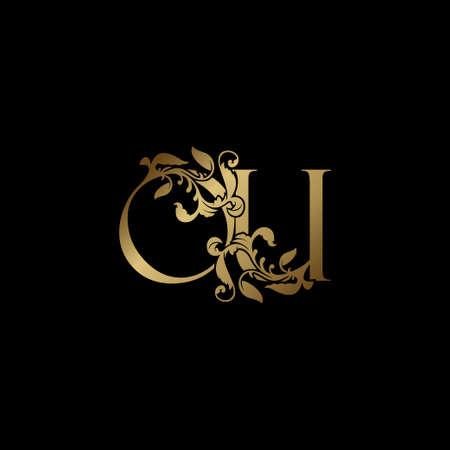 Elegance Luxury deco letter O and U, OU golden logo vector design, alphabet font initial in art decoration.