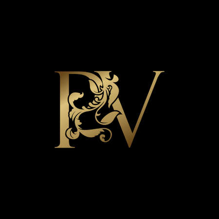 Elegance Luxury deco letter P and V, PV golden logo vector design, alphabet font initial in art decoration.