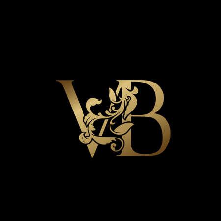 Elegance Luxury deco letter V and B, VB golden logo vector design, alphabet font initial in art decoration.