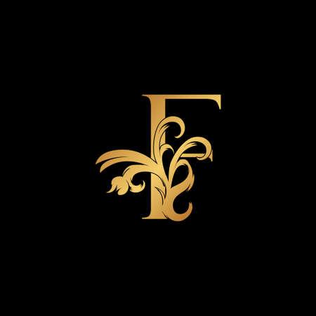 Elegant Luxury Letter F golden logo vector design, alphabet decoration style.