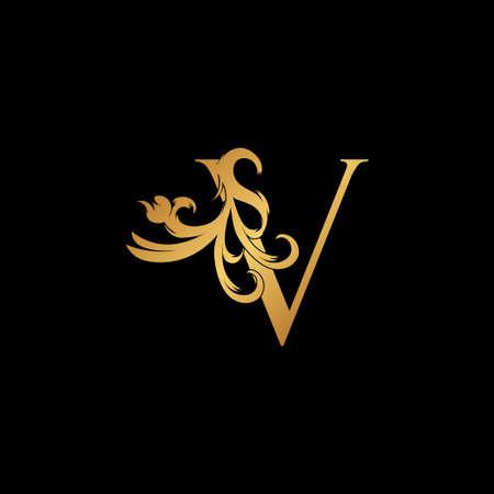 Elegant Luxury Letter V golden logo vector design, alphabet decoration style.