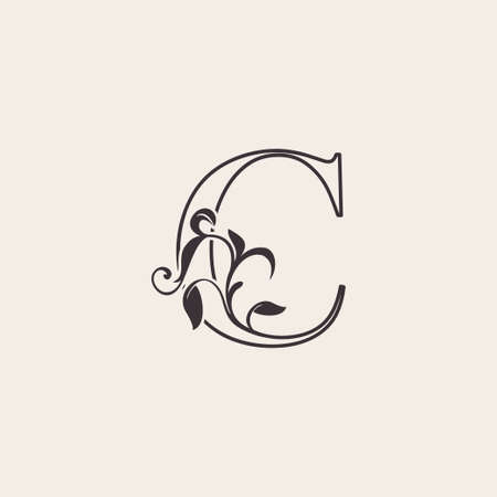 Graceful Floral Letter C Luxury Logo Icon . Black and White Outline simple beautiful logo. Vintage drawn alphabet in art nature leaf style. Ilustração