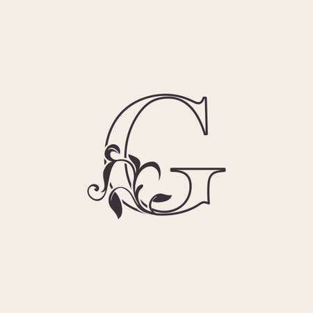 Graceful Floral Letter G Luxury Logo Icon . Black and White Outline simple beautiful logo. Vintage drawn alphabet in art nature leaf style.