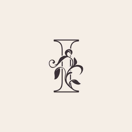 Graceful Floral Letter I Luxury Logo Icon . Black and White Outline simple beautiful logo. Vintage drawn alphabet in art nature leaf style.
