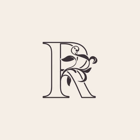 Graceful Floral Letter R Luxury Logo Icon . Black and White Outline simple beautiful logo. Vintage drawn alphabet in art nature leaf style.
