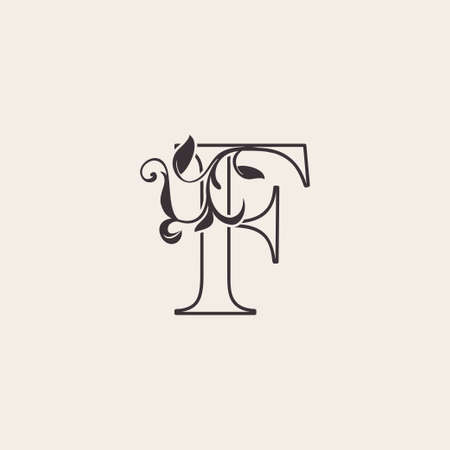 Graceful Floral Letter F Luxury Logo Icon . Black and White Outline simple beautiful logo. Vintage drawn alphabet in art nature leaf style.