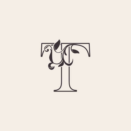 Graceful Floral Letter T Luxury Logo Icon . Black and White Outline simple beautiful logo. Vintage drawn alphabet in art nature leaf style.