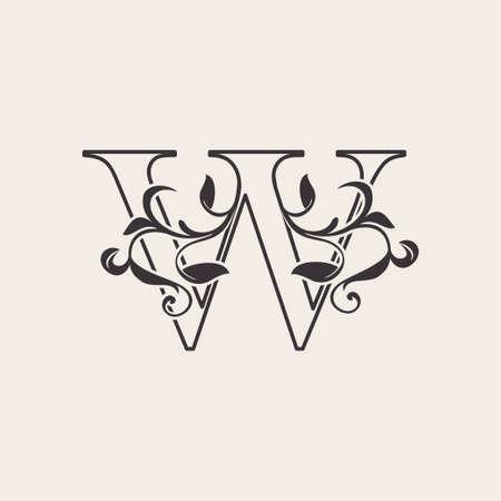 Graceful Floral Letter W Luxury Logo Icon . Black and White Outline simple beautiful logo. Vintage drawn alphabet in art nature leaf style. Ilustração