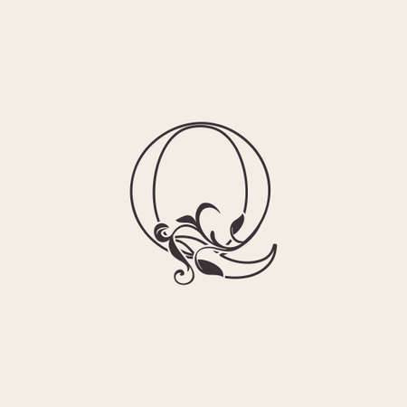 Graceful Floral Letter Q Luxury Logo Icon . Black and White Outline simple beautiful logo. Vintage drawn alphabet in art nature leaf style.