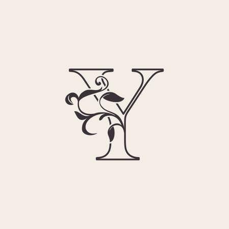 Graceful Floral Letter Y Luxury Logo Icon . Black and White Outline simple beautiful logo. Vintage drawn alphabet in art nature leaf style. Ilustração