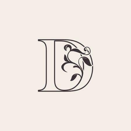 Graceful Floral Letter D Luxury Logo Icon . Black and White Outline simple beautiful logo. Vintage drawn alphabet in art nature leaf style. Ilustração
