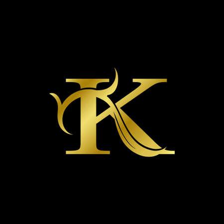 Minimalist Golden K Letter Logo, Luxury Alphabet Vector Design Style.