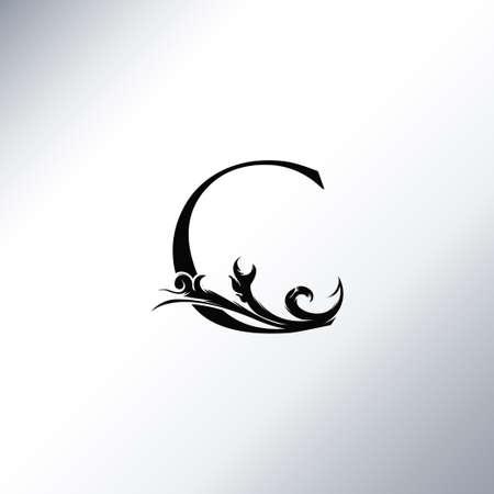 Art Deco Luxury C Letter logo, floral monogram and beautiful alphabet font. Art Deco in vintage style