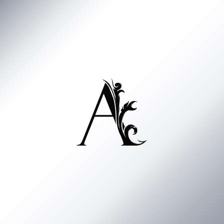 Art Deco Luxury A Letter logo, floral monogram and beautiful alphabet font. Art Deco in vintage style