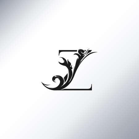 Art Deco Luxury Z Letter logo, floral monogram and beautiful alphabet font. Art Deco in vintage style