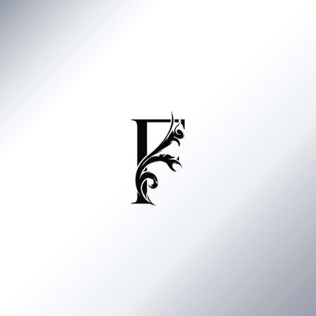 Art Deco Luxury F Letter logo, floral monogram and beautiful alphabet font. Art Deco in vintage style Ilustração