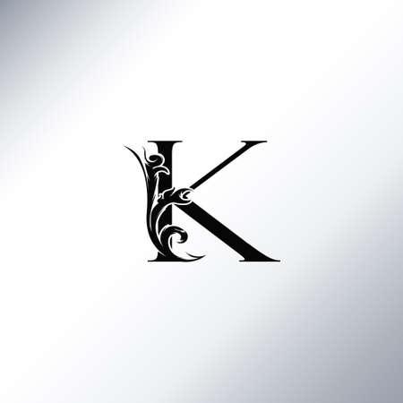 Art Deco Luxury K Letter logo, floral monogram and beautiful alphabet font. Art Deco in vintage style
