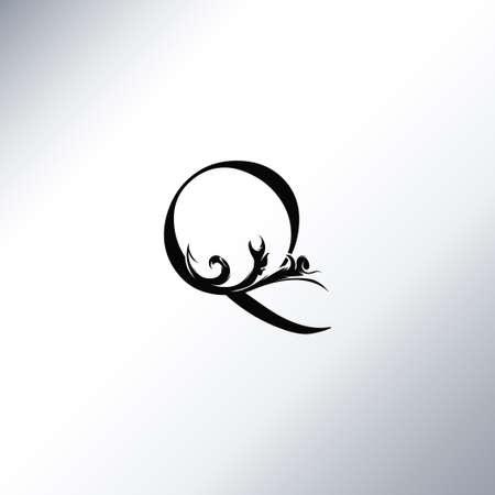 Art Deco Luxury Q Letter logo, floral monogram and beautiful alphabet font. Art Deco in vintage style