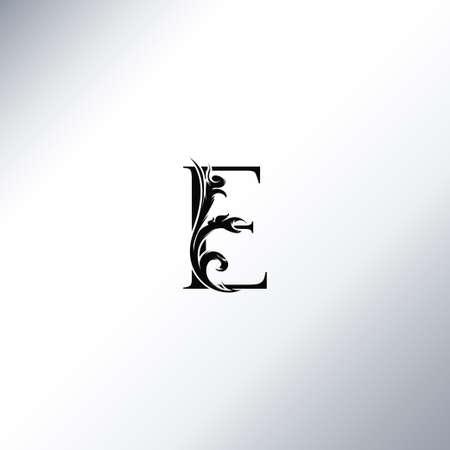 Art Deco Luxury E Letter logo, floral monogram and beautiful alphabet font. Art Deco in vintage style