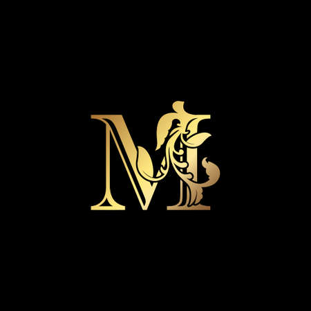 Floral Gold M Luxury Letter Logo Design, Elegance Alphabet Vector Nature Leaf Style.