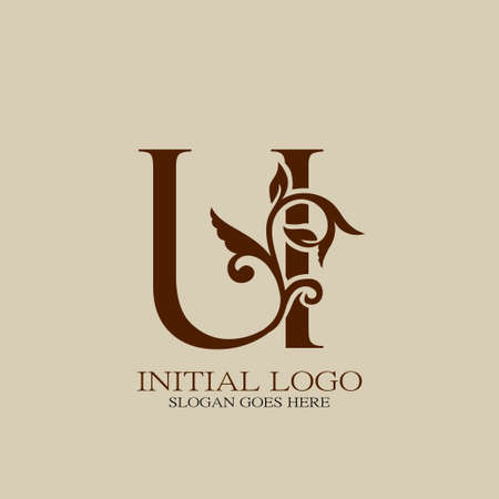 Initial logo letter U luxury style. Vintage nature floral Leaves concept logo vector design.