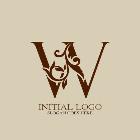 Initial logo letter W luxury style. Vintage nature floral Leaves concept logo vector design.