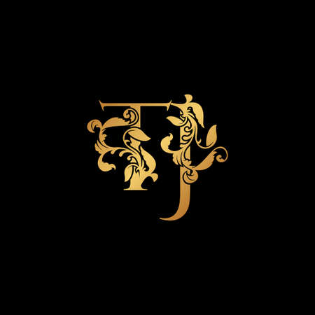 Golden Letter T and J, TJ luxury Initial icon, gold vintage design with tropical nature leaves ornament.