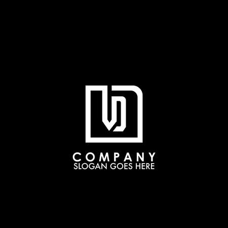 Monogram Logo V and D, VD initial letter looping linked square rounded shape design for business style.