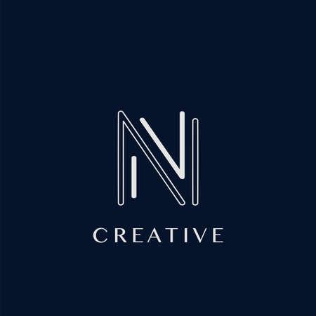 Simple Modern N Letter Logo, Monogram Vector Design Logo Template
