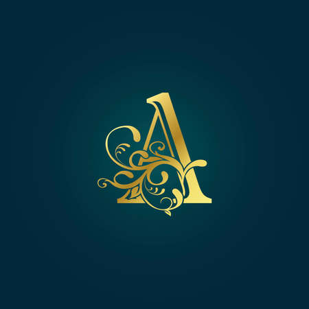 Golden Luxury Initial Letter A Logo Icon Vector Design Concept Floral Leaf with Letter. Logo