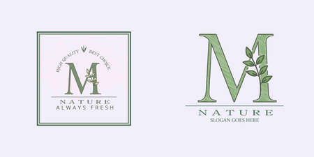 Nature Leaf Initial M Letter Logo, Vector template design concept botanical for business identity