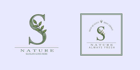 Nature Leaf Initial R Letter Logo, Vector template design concept botanical for business identity