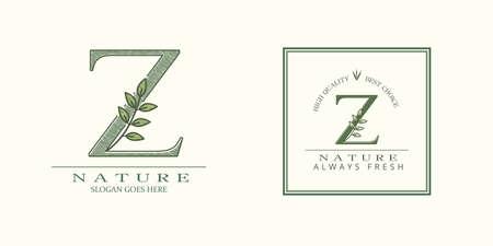 Nature Leaf Initial Z Letter Logo, Vector template design concept botanical for business identity 矢量图像