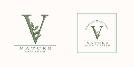 Nature Leaf Initial V Letter Logo, Vector template design concept botanical for business identity