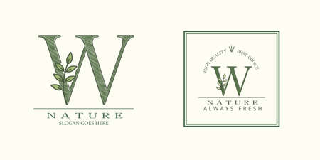 Nature Leaf Initial W Letter Logo, Vector template design concept botanical for business identity 矢量图像
