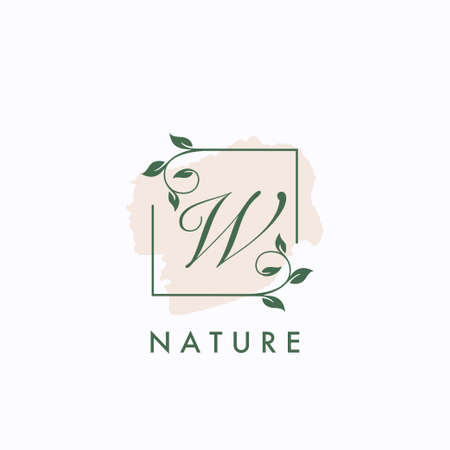 W initial letter square leaf green nature floral   template