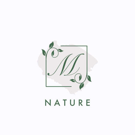 M initial letter square leaf green nature floral   template