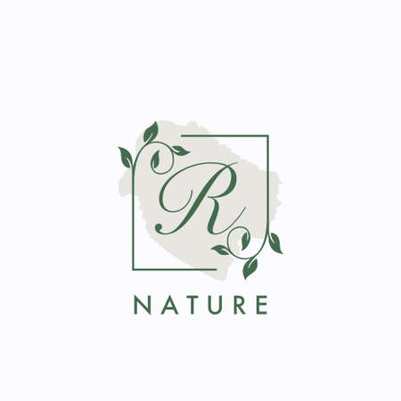 R initial letter square leaf green nature floral   template